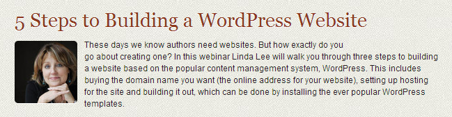 Linda Lee, how to get started setting up wordpress