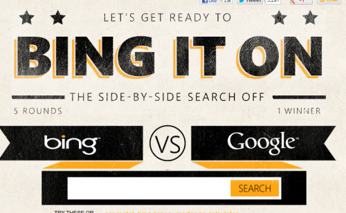 Keyword searches bing and google side by side